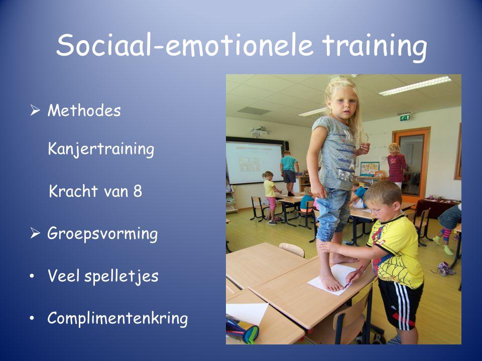 Sociaal-emotionele training  Methodes Kanjertraining Kracht van 8  Groepsvorming Veel spelletjes Complimentenkring