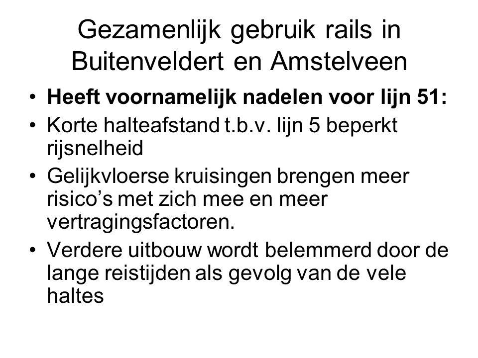 Gezamenlijk gebruik rails in Buitenveldert en Amstelveen Heeft voornamelijk nadelen voor lijn 51: Korte halteafstand t.b.v.