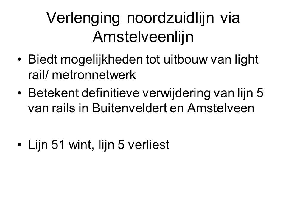 Verlenging noordzuidlijn via Amstelveenlijn Biedt mogelijkheden tot uitbouw van light rail/ metronnetwerk Betekent definitieve verwijdering van lijn 5 van rails in Buitenveldert en Amstelveen Lijn 51 wint, lijn 5 verliest