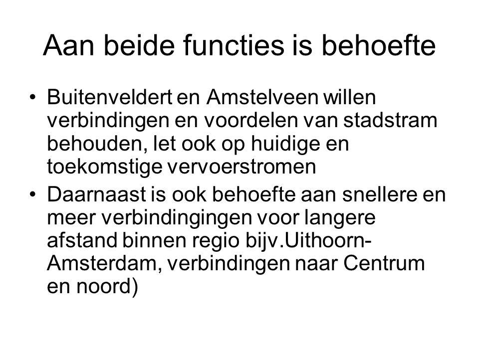 Aan beide functies is behoefte Buitenveldert en Amstelveen willen verbindingen en voordelen van stadstram behouden, let ook op huidige en toekomstige vervoerstromen Daarnaast is ook behoefte aan snellere en meer verbindingingen voor langere afstand binnen regio bijv.Uithoorn- Amsterdam, verbindingen naar Centrum en noord)