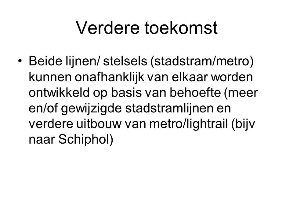 Verdere toekomst Beide lijnen/ stelsels (stadstram/metro) kunnen onafhanklijk van elkaar worden ontwikkeld op basis van behoefte (meer en/of gewijzigde stadstramlijnen en verdere uitbouw van metro/lightrail (bijv naar Schiphol)