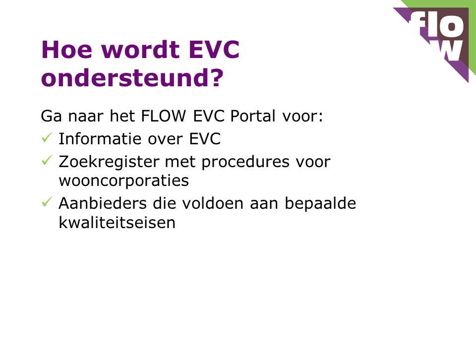 Hoe wordt EVC ondersteund? Ga naar het FLOW EVC Portal voor: Informatie over EVC Zoekregister met procedures voor wooncorporaties Aanbieders die voldo