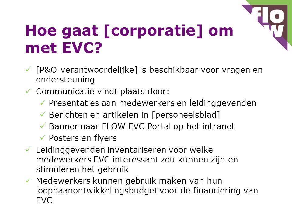 Hoe gaat [corporatie] om met EVC? [P&O-verantwoordelijke] is beschikbaar voor vragen en ondersteuning Communicatie vindt plaats door: Presentaties aan