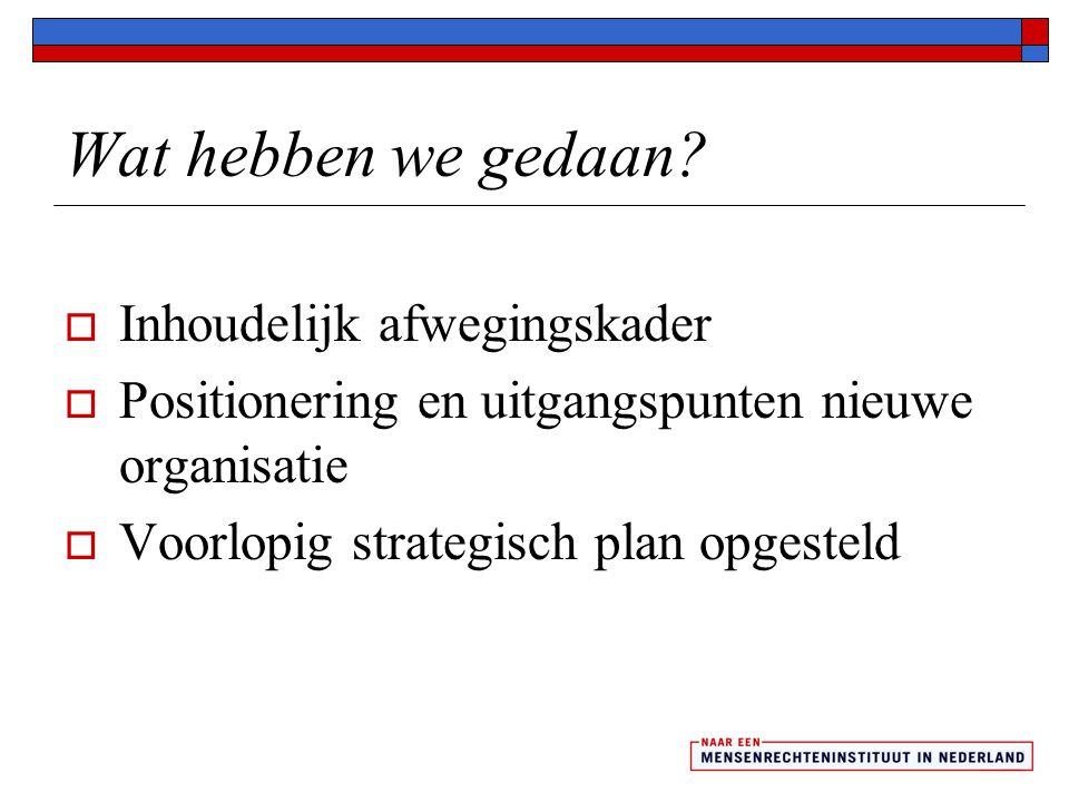 Wat hebben we gedaan?  Inhoudelijk afwegingskader  Positionering en uitgangspunten nieuwe organisatie  Voorlopig strategisch plan opgesteld