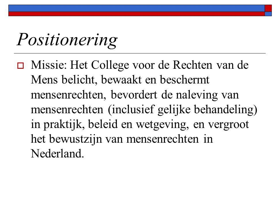 Positionering  Missie: Het College voor de Rechten van de Mens belicht, bewaakt en beschermt mensenrechten, bevordert de naleving van mensenrechten (inclusief gelijke behandeling) in praktijk, beleid en wetgeving, en vergroot het bewustzijn van mensenrechten in Nederland.
