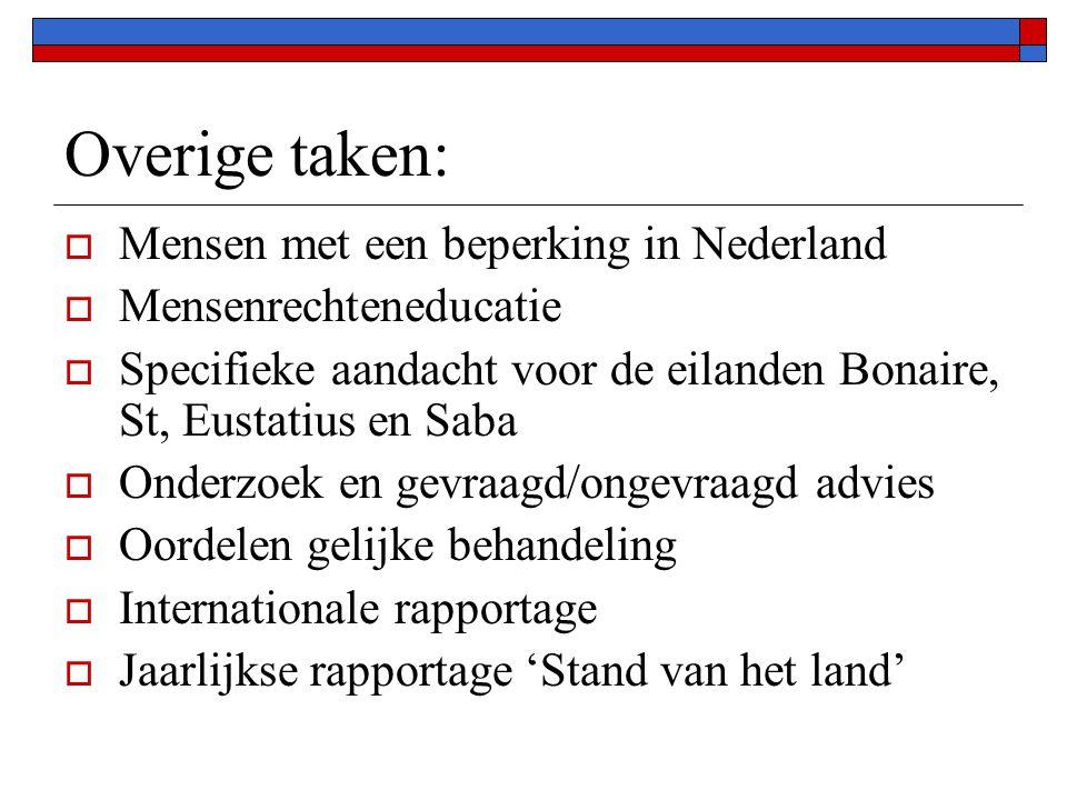Overige taken:  Mensen met een beperking in Nederland  Mensenrechteneducatie  Specifieke aandacht voor de eilanden Bonaire, St, Eustatius en Saba 