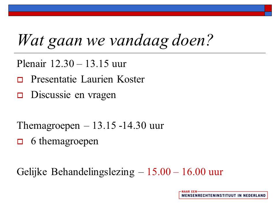 Wat gaan we vandaag doen? Plenair 12.30 – 13.15 uur  Presentatie Laurien Koster  Discussie en vragen Themagroepen – 13.15 -14.30 uur  6 themagroepe