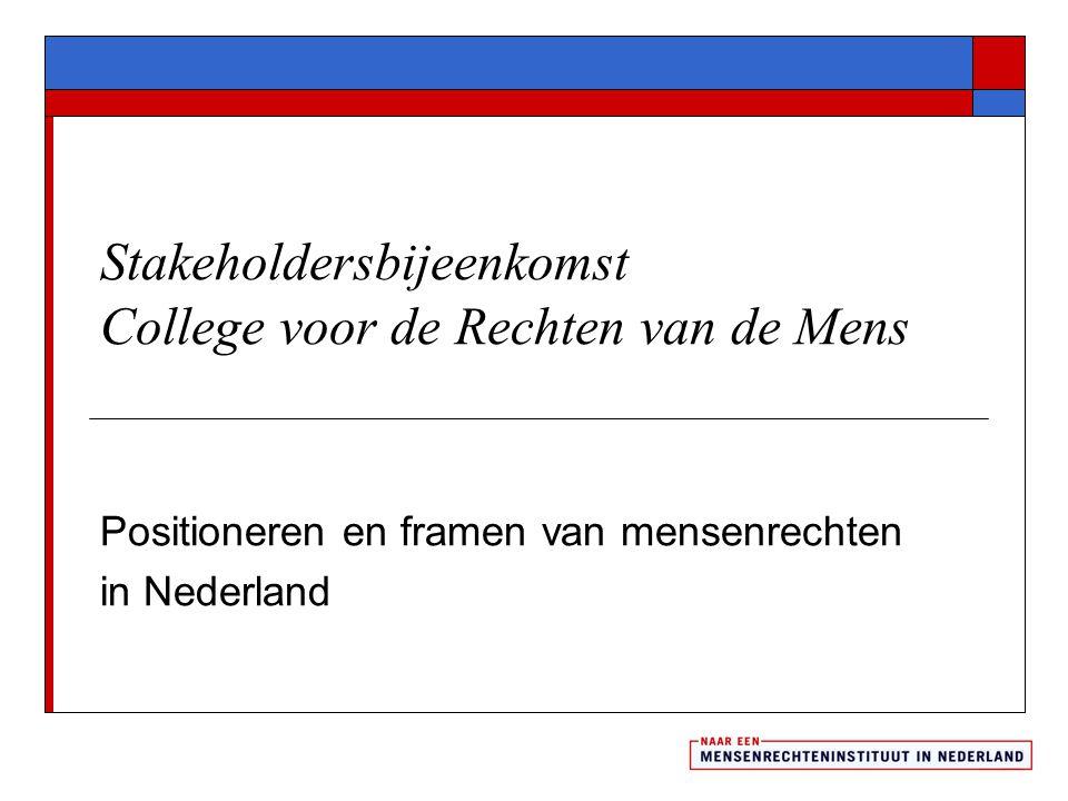 Mensenrechtenthema's in de media  Medio 2011: veel aandacht voor asiel/migratie/vluchtelingen; gezondheidszorg; werkgelegenheid, kinderen en rechtsgang  Concreet veel aandacht voor meisje Sahar en vluchtelingen uit Lampedusa  Verdachten en gedetineerden waren vrijwel onzichtbaar in de Nederlandse dagbladen