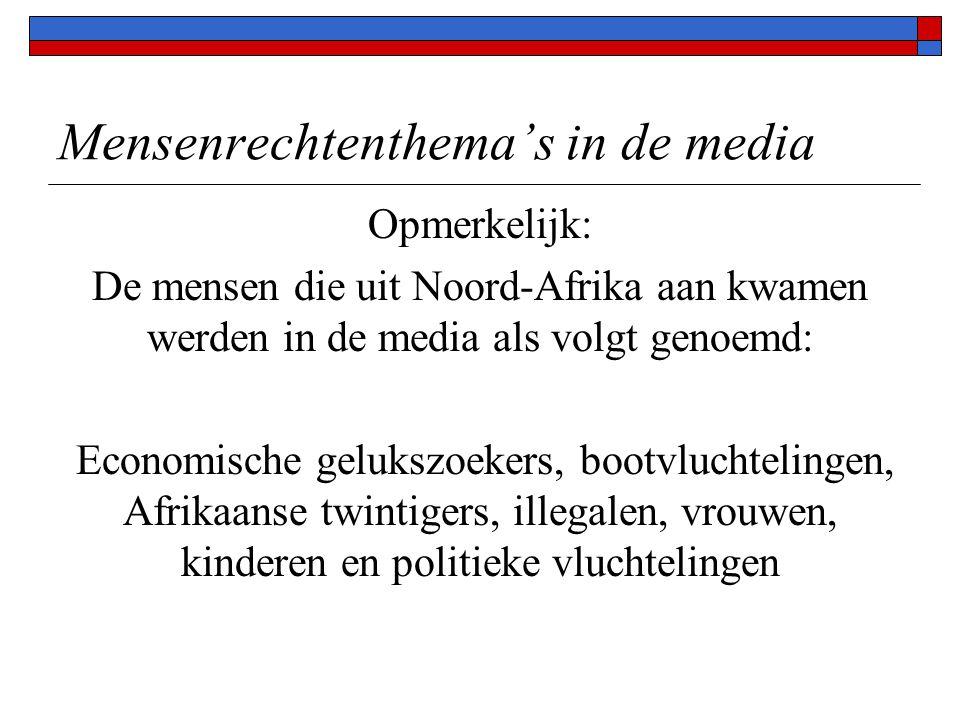 Mensenrechtenthema's in de media Opmerkelijk: De mensen die uit Noord-Afrika aan kwamen werden in de media als volgt genoemd: Economische gelukszoekers, bootvluchtelingen, Afrikaanse twintigers, illegalen, vrouwen, kinderen en politieke vluchtelingen