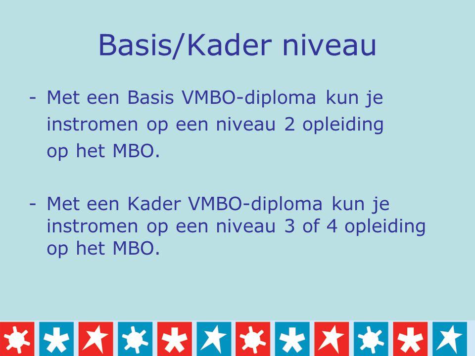 Basis/Kader niveau -Met een Basis VMBO-diploma kun je instromen op een niveau 2 opleiding op het MBO. -Met een Kader VMBO-diploma kun je instromen op