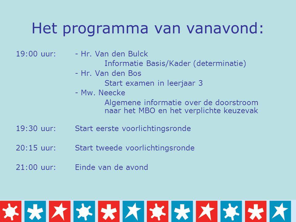 Het programma van vanavond: 19:00 uur: - Hr. Van den Bulck Informatie Basis/Kader (determinatie) - Hr. Van den Bos Start examen in leerjaar 3 - Mw. Ne