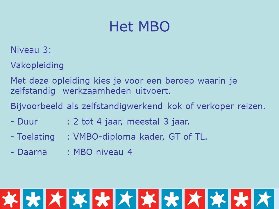Het MBO Niveau 3: Vakopleiding Met deze opleiding kies je voor een beroep waarin je zelfstandig werkzaamheden uitvoert. Bijvoorbeeld als zelfstandigwe