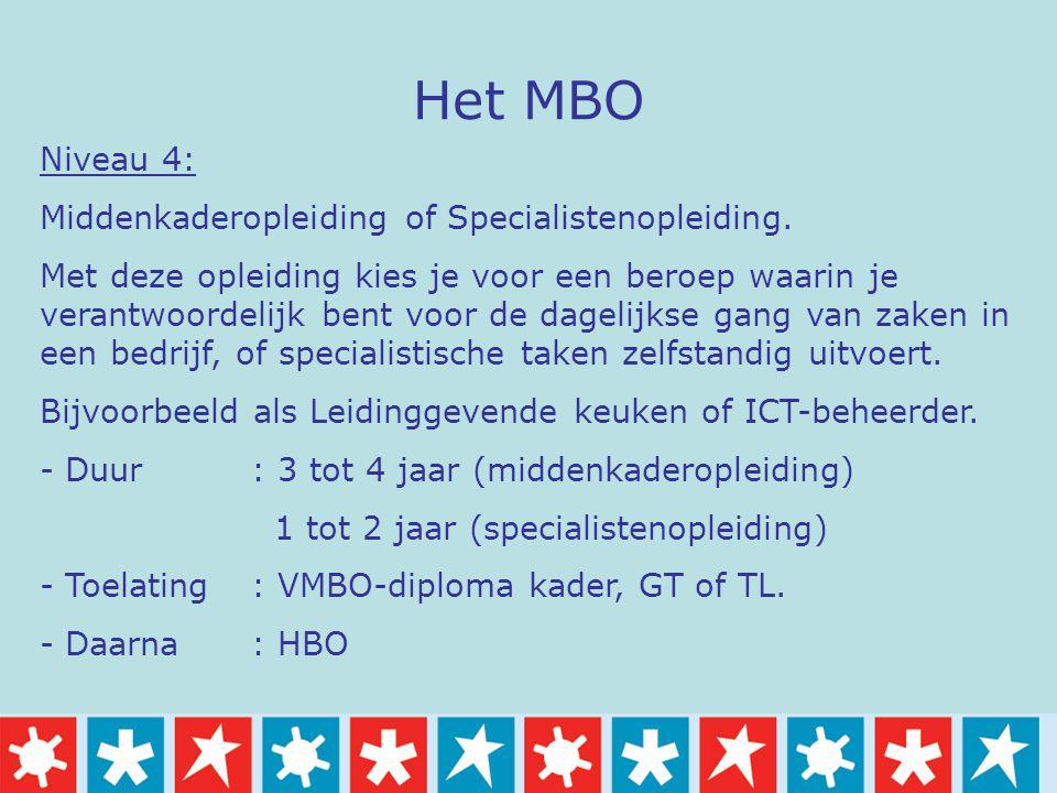 Het MBO Niveau 4: Middenkaderopleiding of Specialistenopleiding. Met deze opleiding kies je voor een beroep waarin je verantwoordelijk bent voor de da