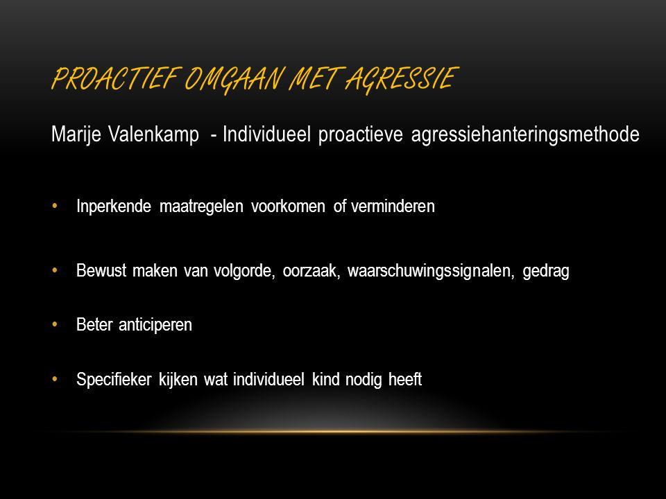 PROACTIEF OMGAAN MET AGRESSIE Marije Valenkamp - Individueel proactieve agressiehanteringsmethode Inperkende maatregelen voorkomen of verminderen Bewu