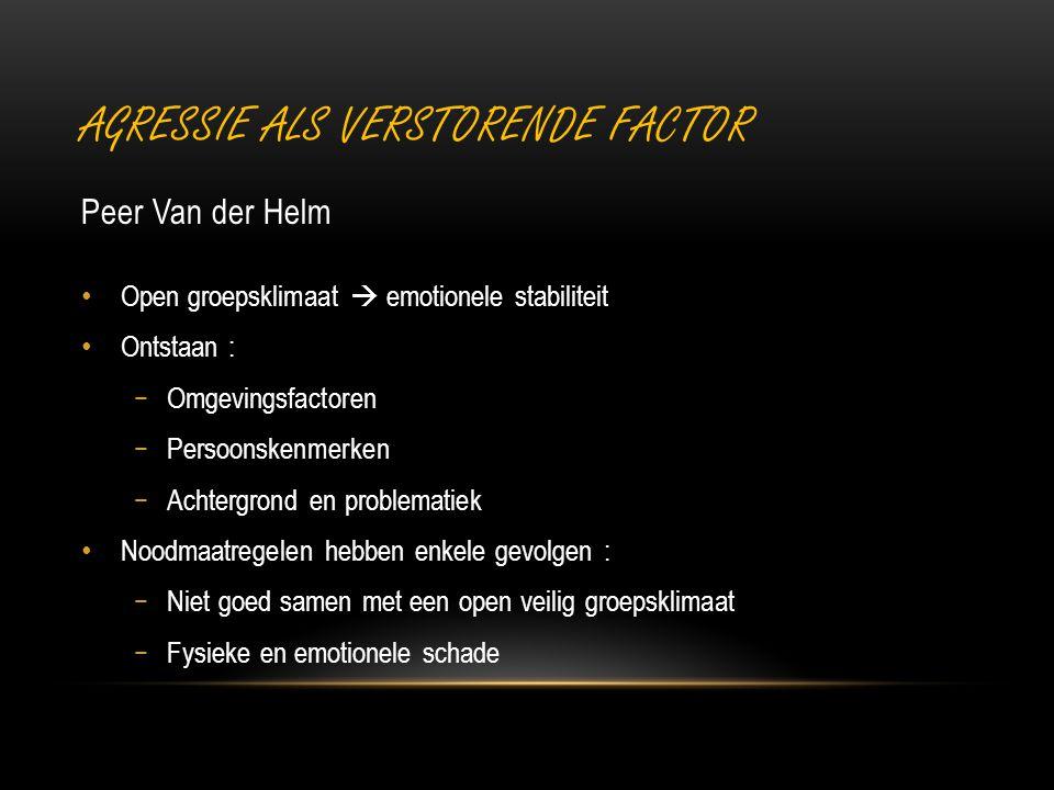 AGRESSIE ALS VERSTORENDE FACTOR Peer Van der Helm Open groepsklimaat  emotionele stabiliteit Ontstaan : −Omgevingsfactoren −Persoonskenmerken −Achter