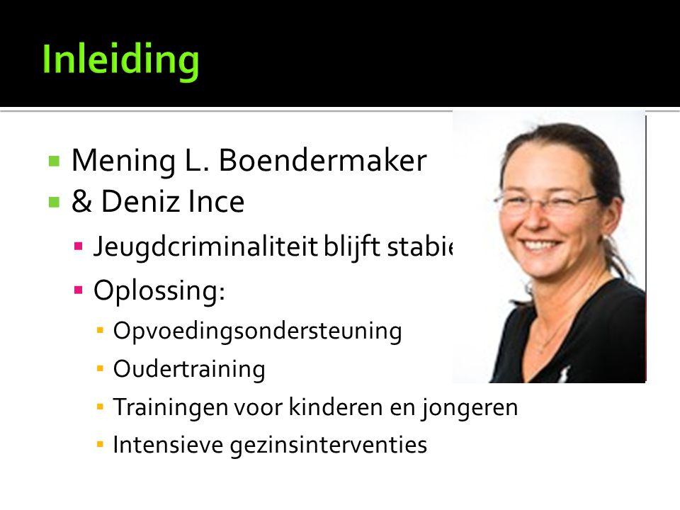  Mening L. Boendermaker  & Deniz Ince  Jeugdcriminaliteit blijft stabiel  Oplossing: ▪ Opvoedingsondersteuning ▪ Oudertraining ▪ Trainingen voor k