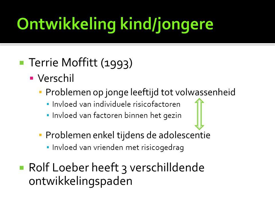  Terrie Moffitt (1993)  Verschil ▪ Problemen op jonge leeftijd tot volwassenheid ▪ Invloed van individuele risicofactoren ▪ Invloed van factoren bin
