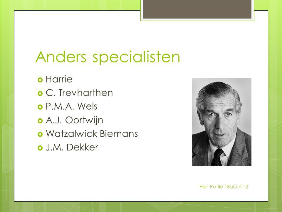 Anders specialisten  Harrie  C. Trevharthen  P.M.A. Wels  A.J. Oortwijn  Watzalwick Biemans  J.M. Dekker Fien Pottie 1BaO A1.2