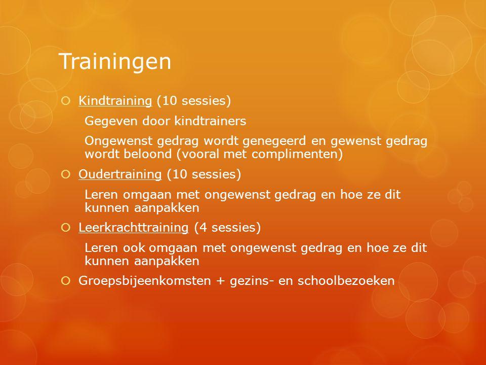 Trainingen  Kindtraining (10 sessies) Gegeven door kindtrainers Ongewenst gedrag wordt genegeerd en gewenst gedrag wordt beloond (vooral met complime