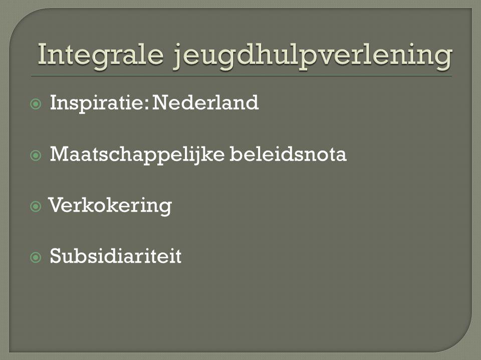 Inspiratie: Nederland  Maatschappelijke beleidsnota  Verkokering  Subsidiariteit