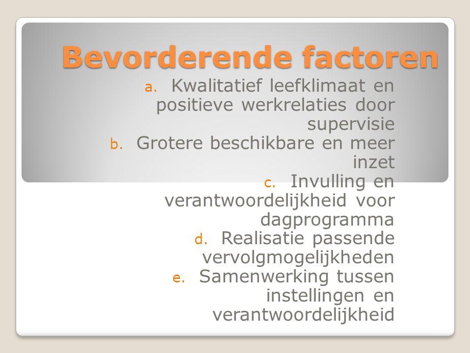 Bevorderende factoren a. Kwalitatief leefklimaat en positieve werkrelaties door supervisie b. Grotere beschikbare en meer inzet c. Invulling en verant