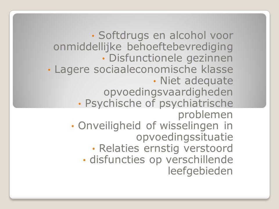 Softdrugs en alcohol voor onmiddellijke behoeftebevrediging Disfunctionele gezinnen Lagere sociaaleconomische klasse Niet adequate opvoedingsvaardighe