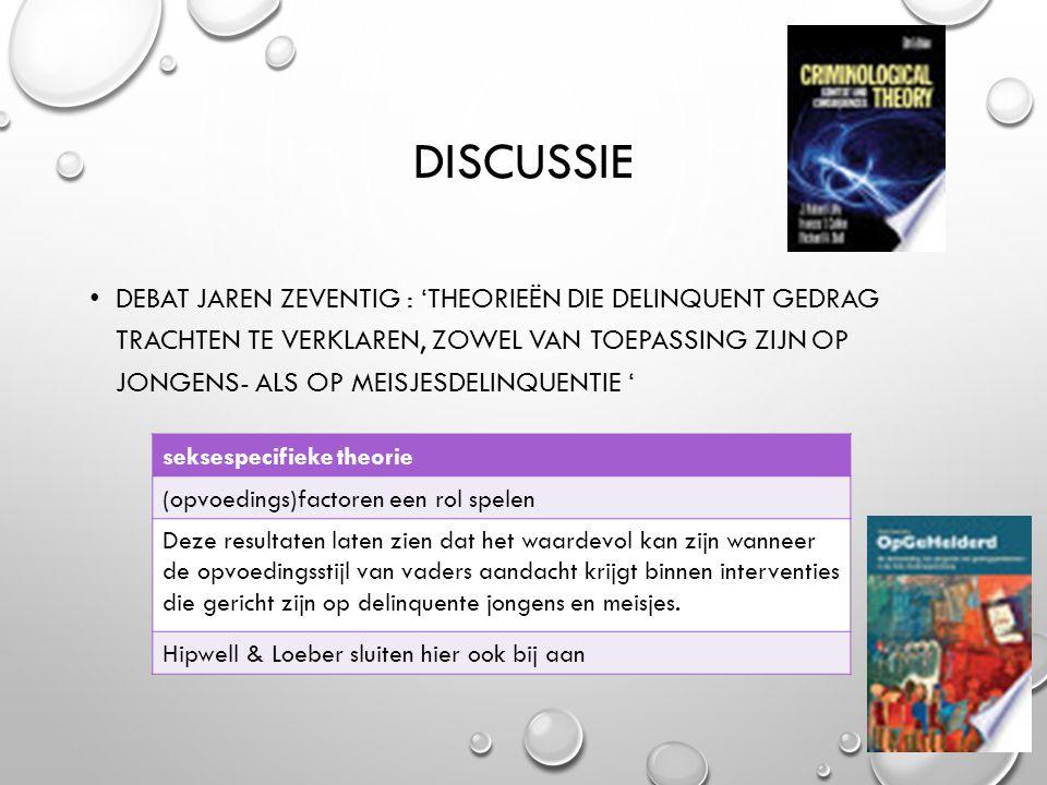 DISCUSSIE DEBAT JAREN ZEVENTIG : 'THEORIEËN DIE DELINQUENT GEDRAG TRACHTEN TE VERKLAREN, ZOWEL VAN TOEPASSING ZIJN OP JONGENS- ALS OP MEISJESDELINQUEN