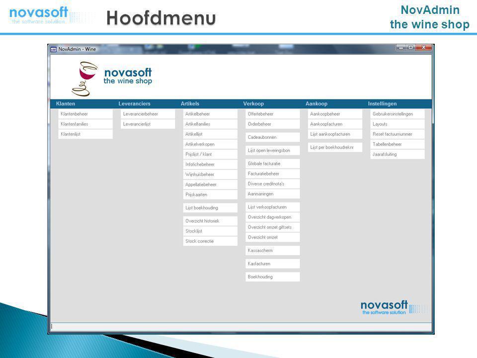 NovAdmin the wine shop Nieuwe gebruikersinterface / MDI Automatische update via web