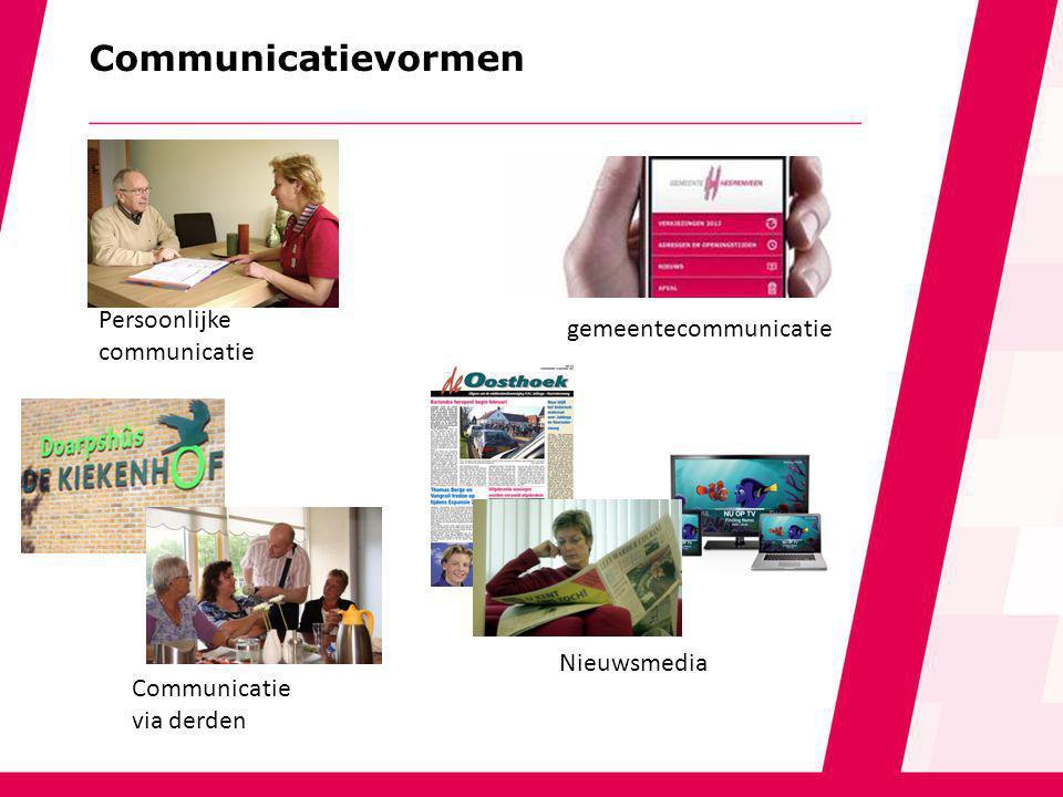 Communicatievormen Persoonlijke communicatie gemeentecommunicatie Nieuwsmedia Communicatie via derden