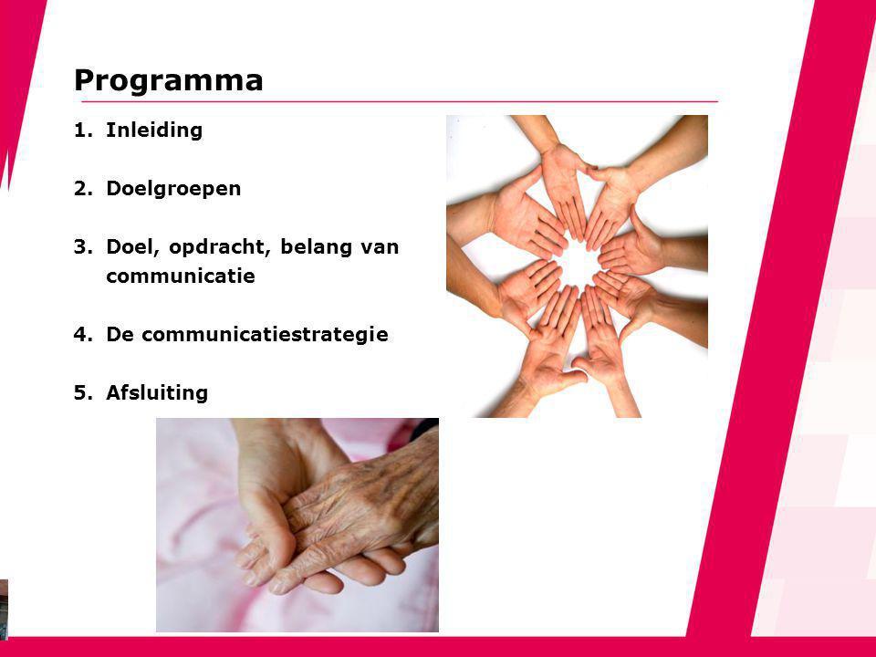 Programma 1.Inleiding 2.Doelgroepen 3.Doel, opdracht, belang van communicatie 4.De communicatiestrategie 5.Afsluiting