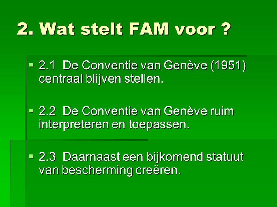 2. Wat stelt FAM voor .  2.1 De Conventie van Genève (1951) centraal blijven stellen.