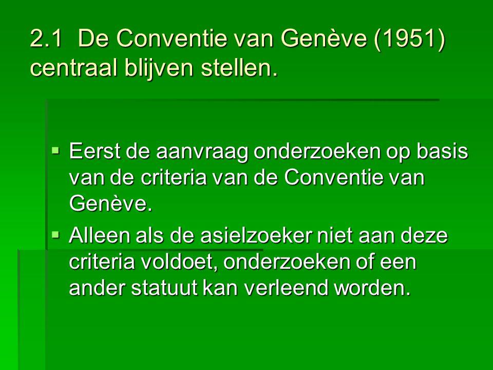 2.1 De Conventie van Genève (1951) centraal blijven stellen.
