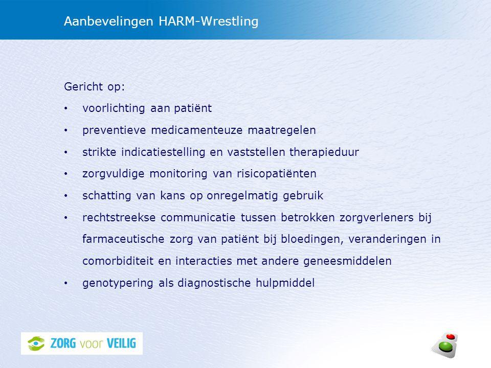 Aanbevelingen HARM-Wrestling Gericht op: voorlichting aan patiënt preventieve medicamenteuze maatregelen strikte indicatiestelling en vaststellen ther