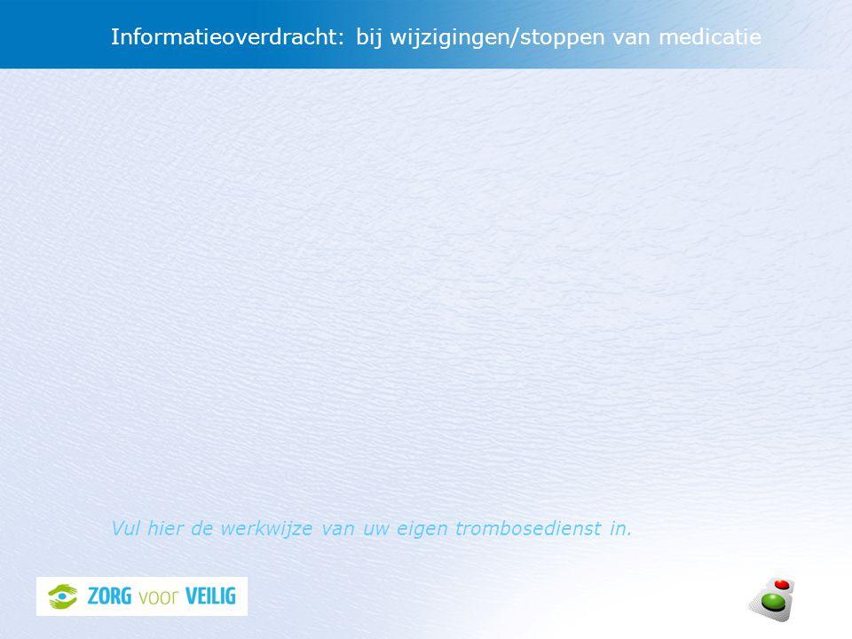 Informatieoverdracht: bij wijzigingen/stoppen van medicatie Vul hier de werkwijze van uw eigen trombosedienst in.