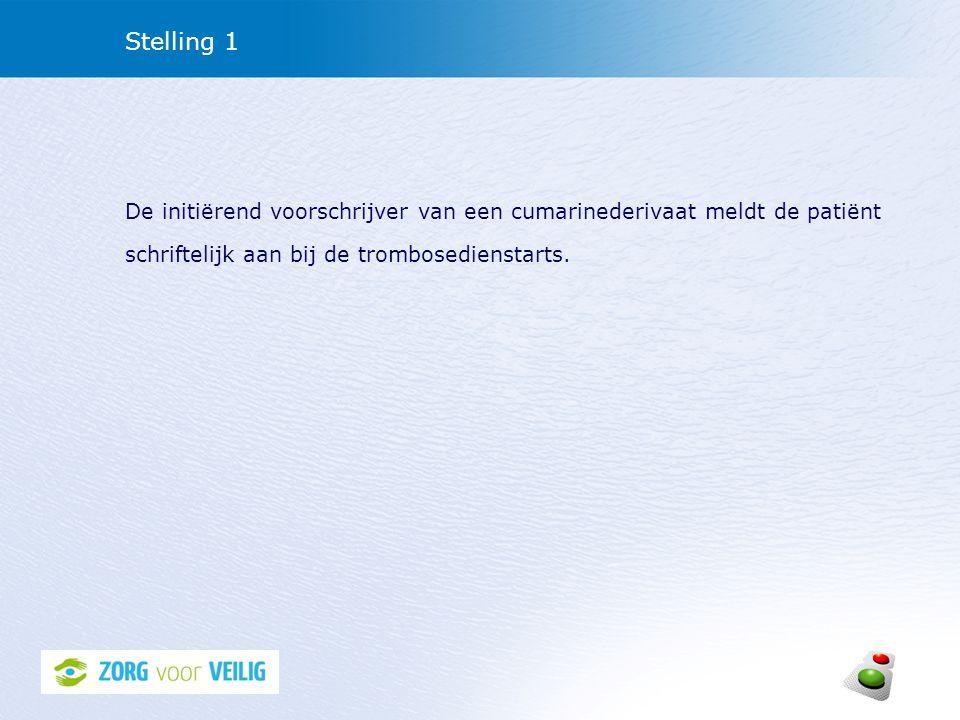 Stelling 1 De initiërend voorschrijver van een cumarinederivaat meldt de patiënt schriftelijk aan bij de trombosedienstarts.