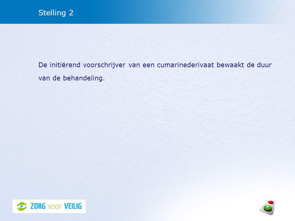 Stelling 2 De initiërend voorschrijver van een cumarinederivaat bewaakt de duur van de behandeling.