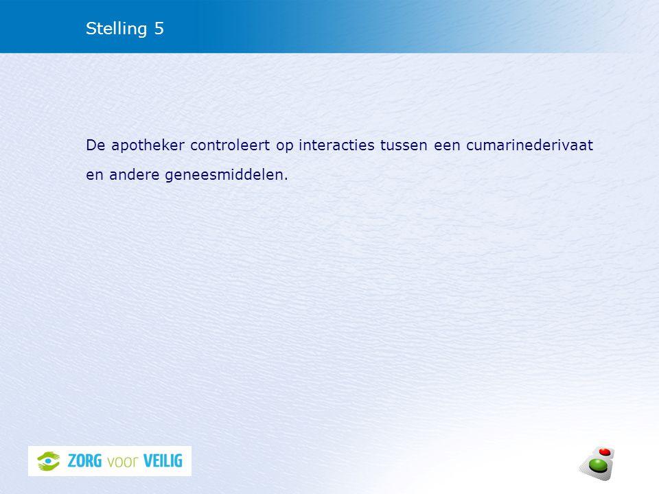 Stelling 5 De apotheker controleert op interacties tussen een cumarinederivaat en andere geneesmiddelen.
