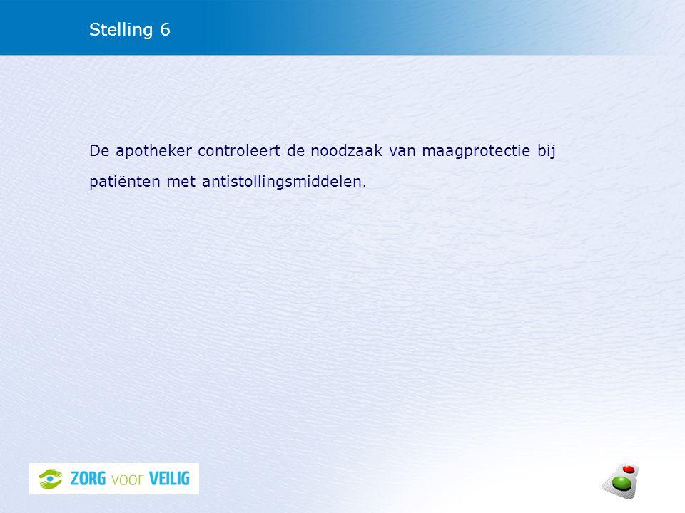 Stelling 6 De apotheker controleert de noodzaak van maagprotectie bij patiënten met antistollingsmiddelen.