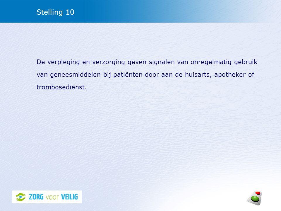 Stelling 10 De verpleging en verzorging geven signalen van onregelmatig gebruik van geneesmiddelen bij patiënten door aan de huisarts, apotheker of tr