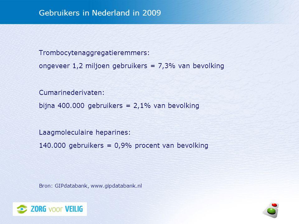 Gebruikers in Nederland in 2009 Trombocytenaggregatieremmers: ongeveer 1,2 miljoen gebruikers = 7,3% van bevolking Cumarinederivaten: bijna 400.000 ge