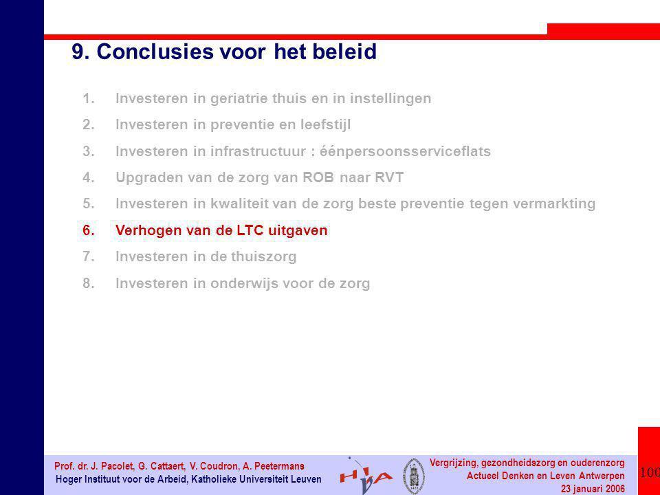 100 Hoger Instituut voor de Arbeid, Katholieke Universiteit Leuven Prof. dr. J. Pacolet, G. Cattaert, V. Coudron, A. Peetermans Vergrijzing, gezondhei