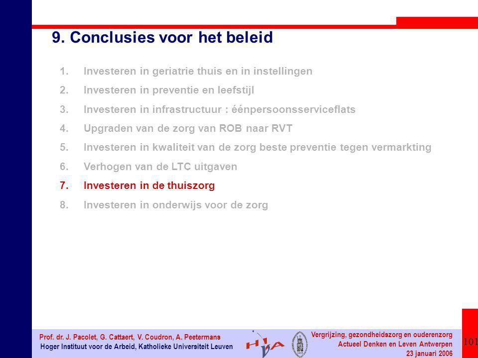 101 Hoger Instituut voor de Arbeid, Katholieke Universiteit Leuven Prof. dr. J. Pacolet, G. Cattaert, V. Coudron, A. Peetermans Vergrijzing, gezondhei