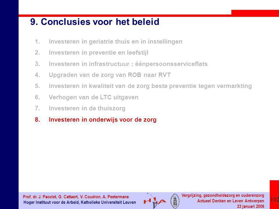 102 Hoger Instituut voor de Arbeid, Katholieke Universiteit Leuven Prof. dr. J. Pacolet, G. Cattaert, V. Coudron, A. Peetermans Vergrijzing, gezondhei