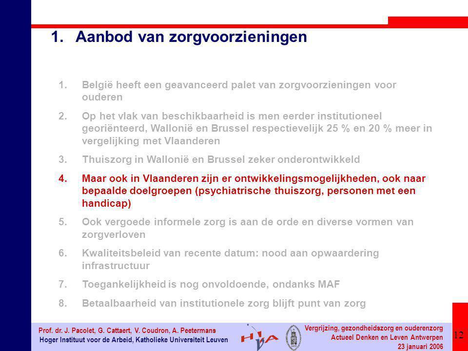 12 Hoger Instituut voor de Arbeid, Katholieke Universiteit Leuven Prof. dr. J. Pacolet, G. Cattaert, V. Coudron, A. Peetermans Vergrijzing, gezondheid