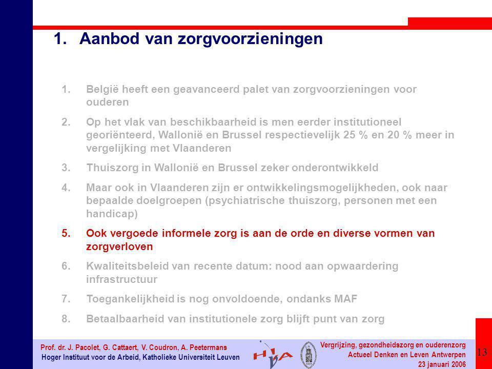 13 Hoger Instituut voor de Arbeid, Katholieke Universiteit Leuven Prof. dr. J. Pacolet, G. Cattaert, V. Coudron, A. Peetermans Vergrijzing, gezondheid