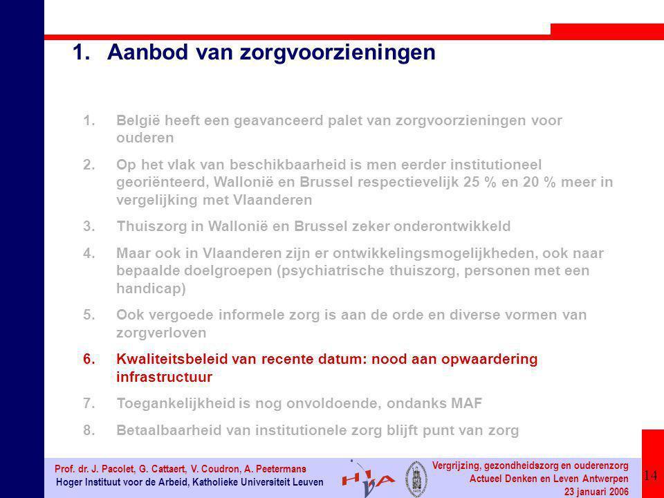 14 Hoger Instituut voor de Arbeid, Katholieke Universiteit Leuven Prof. dr. J. Pacolet, G. Cattaert, V. Coudron, A. Peetermans Vergrijzing, gezondheid