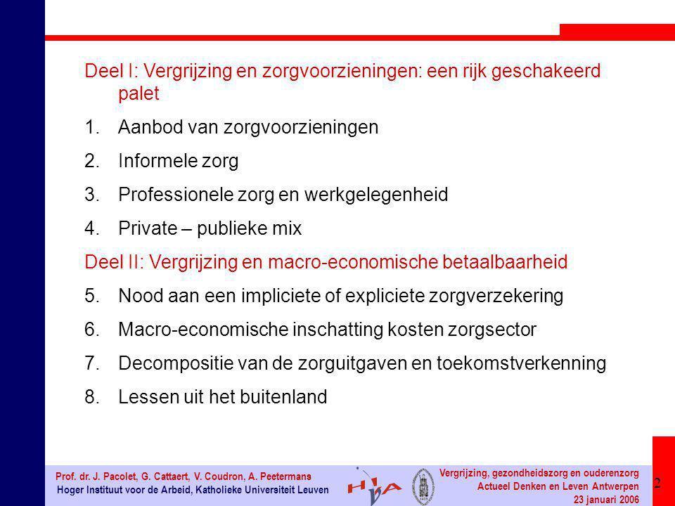 2 Hoger Instituut voor de Arbeid, Katholieke Universiteit Leuven Prof. dr. J. Pacolet, G. Cattaert, V. Coudron, A. Peetermans Vergrijzing, gezondheids