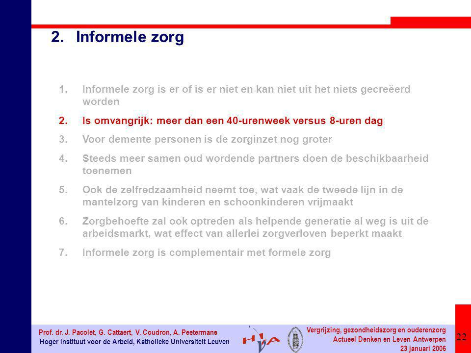 22 Hoger Instituut voor de Arbeid, Katholieke Universiteit Leuven Prof. dr. J. Pacolet, G. Cattaert, V. Coudron, A. Peetermans Vergrijzing, gezondheid
