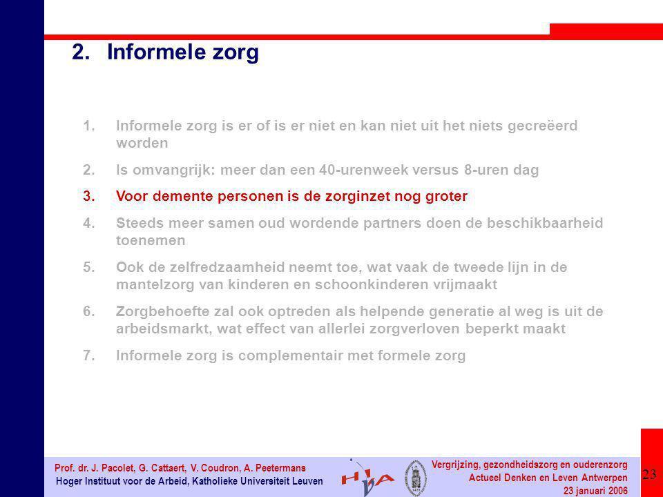 23 Hoger Instituut voor de Arbeid, Katholieke Universiteit Leuven Prof. dr. J. Pacolet, G. Cattaert, V. Coudron, A. Peetermans Vergrijzing, gezondheid