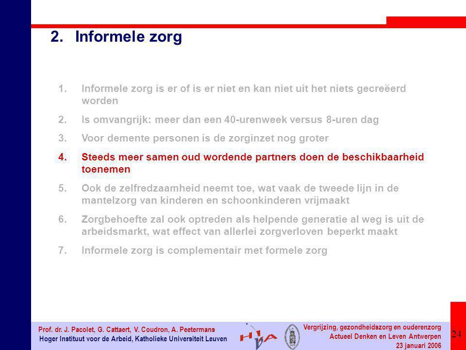 24 Hoger Instituut voor de Arbeid, Katholieke Universiteit Leuven Prof. dr. J. Pacolet, G. Cattaert, V. Coudron, A. Peetermans Vergrijzing, gezondheid
